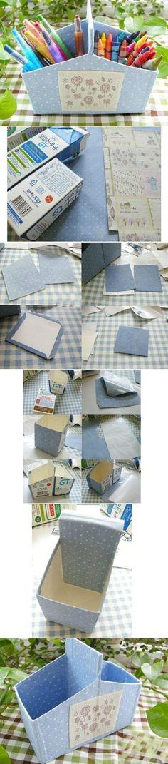 organizador de lápices con cartón de leche