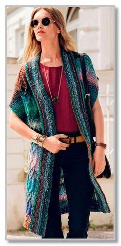 Вязание спицами. Длинный цельновязанный жилет-кимоно из пряжи секционного крашения. Размер: 36/38, 40/42, 44/46