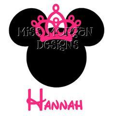 Personalized Tiara Minnie Mouse Disney iron on decal vinyl for shirt. $7.00, via Etsy.