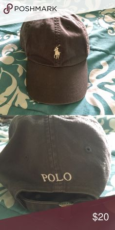 Polo brand baseball cap Gray baseball cap with white logo on front and back. Silver metal adjuster on back. EUC. Polo by Ralph Lauren Accessories Hats