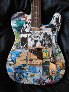 Batman tele style electric guitar with custom Batman by ComicDecor
