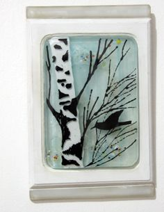 Fused Glass Painting , teal blue bird & tree landscape