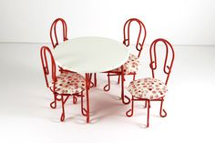 Red and White Ice Cream Parlor Table Set