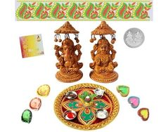 Dewali spiritually signifies the victory of light over darkness, good over evil and hope over despair. Dewali incorporates Indian tradition that brings happiness to us. Make this Dewali memorable by expressing your love towards your friends and relatives. Here we would like to recommend this Puja Thali that can be a perfect gift. Just look at this Thali which contains Laxmi & Ganesh Idols along with Silver Plated Coin,