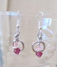 Double Crystal & Silver Hoop Dangle Earrings by Pizzelwaddels