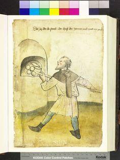 Baker pushes pastries, 1425 Die Hausbücher der Nürnberger Zwölfbrüderstiftungen