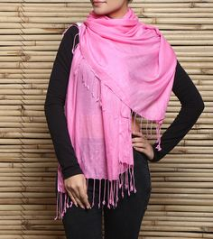 Pink Semi Pashmina Stole