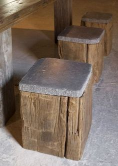Cool! Looks like timbers with natural stone paver seats.: Gardens Ideas, Outdoor Seats, Rustic Stools, Wood Stools, Natural Stones, Stones Paver, Bar Stools, Concrete Bar Tops, Fire Pit