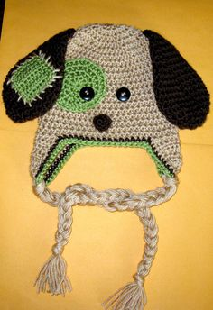 Patchy Puppy Hat Pattern - Crochet Pattern Number 18 - Beanie and Earflap Pattern - Newborn to Adult - CROCHET HAT PATTERN. $3.25, via Etsy.