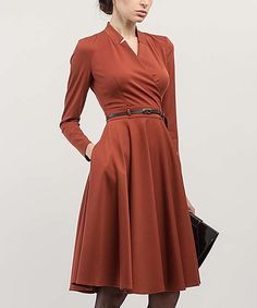 This BGL Terra-Cotta Surplice Fit & Flare Dress by BGL is perfect! #zulilyfinds