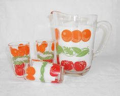 Orange/Tomato Juice Pitcher and 3 Juice Glasses by WeBGlass on Etsy