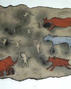 Using butcher paper, ink and charcoal, your child will explore ancient motifs such as buffalo, bison and hunters by creating her very own cave painting.