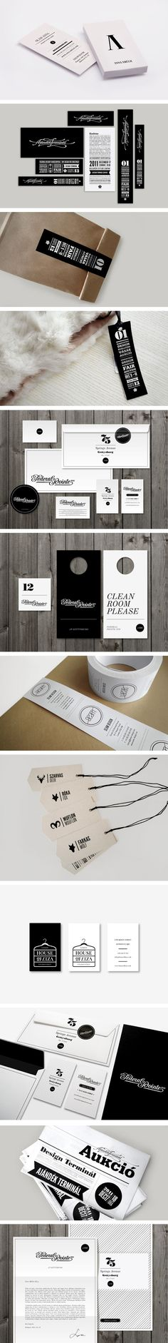 A lovely collection of branding work by Kiss Miklos. #Tags and #labels in black and white #packaging PD