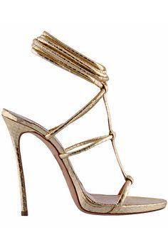 Dsquared2 - Women's Accessories - 2015 Pre-Spring - metallic gold high heeled scrappy sandals #SS15...x