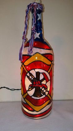 Bare feet Bears Bottle Lamp Hand Painted Lighted