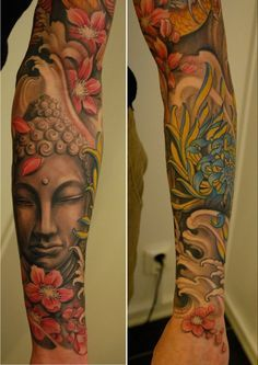 myownhell: sorry tumblr world, ive been on vacation with no internet the past 4 days. im back. heres an awesome part of a full sleeve by Johan finne.