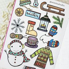 Some wonderful winter doodle ideas from the wonderful @mimitsudoodles (#bulletjournalcollection)