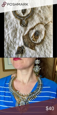 """Nefertiti"" Middle Eastern Necklace Set Beautiful enough for a Queen! Approximate measurements; chain length 21"" with a 3"" extender, design is 3""x3"", earrings 3.5""x2"". Other necklace in first photo found in another listing. Bedecked & Bedazzled Jewelry Necklaces"