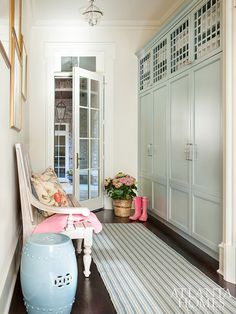 Mudroom with blue green lockers
