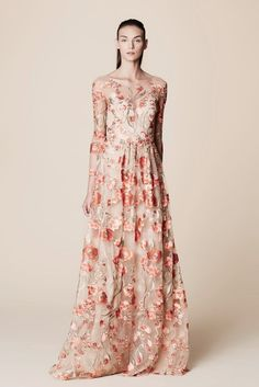 NWT Marchesa Notte ¾ Sleeve Floral Embroidered Gown | eBay