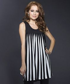This Black & White Pleated Shift Dress by Adore is perfect! #zulilyfinds