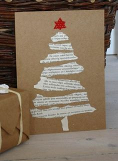 weihnachtsbastelleien weihnachtskarten basteln tanne zeitungspapier