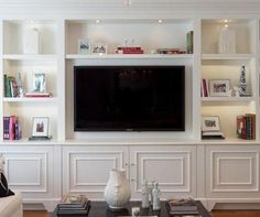 Built In Wall Unit - center ideas Built In Tv Wall Unit, Wall Units With Fireplace, Built In Tv Cabinet, Tv Built In, Built In Bookcase, Living Room Without Fireplace, Fireplace Wall, Living Room Built Ins, Living Room Wall Units