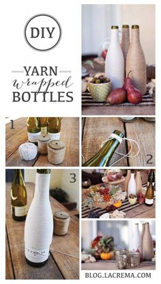 Ever wondered what to do with all those left over La Crema wine bottles? Here is a simple DIY on how to wrap wine bottles with yarn to creat...