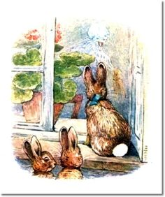 The Tale of The Flopsy Bunnies - 1909 - Bunnies Watch Mrs. McGregor Reach into Sack