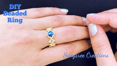 Dainty Beaded Ring.DIY Beaded Ring.How to make Beaded Ring - YouTube