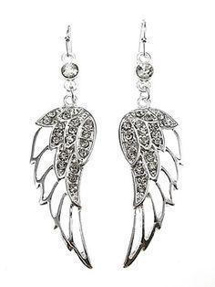 Angel Wing Silver Tone Rhinestone Earrings Dangle Drop New Women Fashion Jewelry Dazzledbyjewels Dropdangle