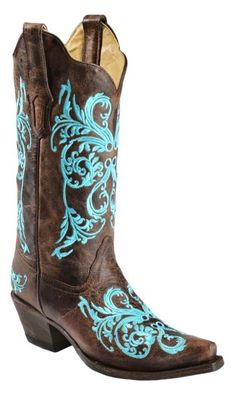 Corral Brown Turquoise Inlay Cowgirl Boots | Best Cowgirl boot and ...