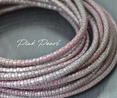 Your place to buy and sell all things handmade Metallic Leather, Pink Leather, Leather Cord, Metallic Pink, Stitching Leather, Leather Necklace, Calves, Rose Gold, Pearls