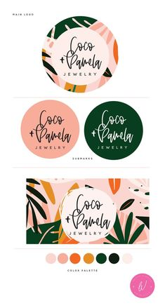business Fresh Tropical Logo- Palms Logo For Handmade Business - Abstract Logo, Complete Branding Design. All you need in one package! Brand Identity Design, Corporate Design, Brand Design, Logo Abstrait, Inspiration Logo Design, Design Ideas, Design Trends, Restaurant Logo, Business Branding