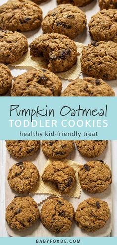 These pumpkin oatmeal cookies are the perfect fall weekend baking project. Made with pumpkin puree, Healthy Cookie Recipes, Healthy Baking, Baby Food Recipes, Gourmet Recipes, Healthy Food, Baked Recipes For Toddlers, Healthy Drinks, Recipes Dinner, Healthy Desserts