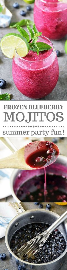 Frozen Blueberry Mojito is made with fresh ingredients to maximize flavor. This refreshing mocktail can be enjoyed by all ages or you can add rum for an adult only party. Either way it is fruity and delicious and perfect for all your summer parties! #FWCon #BerryDelish
