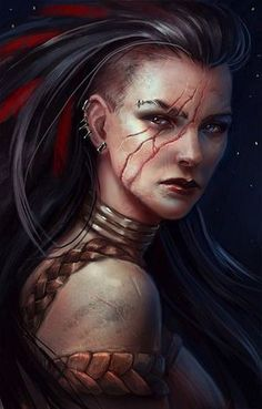 Female character fighter / barbarian with facial scars plaited leather clothing Dnd / Pathfinder character concept Anime Art Fantasy, Fantasy Rpg, Fantasy Artwork, Dark Fantasy, Dnd Characters, Fantasy Characters, Female Characters, Fantasy Portraits, Character Portraits