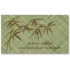 Basketry or matting business card. Brown bamboo on green woven background. crafts basket weaving