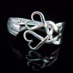 Zilveren vork armband, bruiloft sieraden, bruiloft armband, iets oud, Eco bruiloft, Vintage bruiloft, harten ontwerp weven