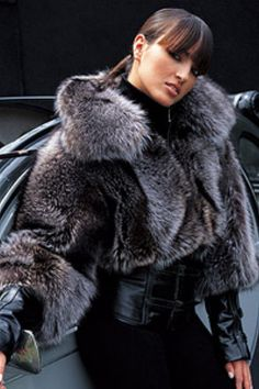 Silver Fox Fur & Leather Jacket