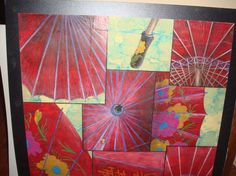 colored pencil on tissue paper fractured drawing (parasol), senior year high school AP art (GPS)