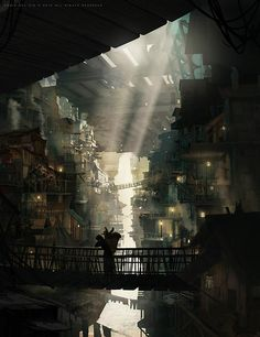 In the lower regions of Palaethos (The City Shard), sunlight is filtered through the levels above. The lowest regions can be places of perpetual twilight. (http://conceptartworld.com/wp-content/uploads/2013/04/Eddie_Del_Rio_Concept_Art_n01.jpg)