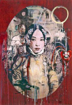 "Hung Liu- ""Heart II"" 2012, mixed media on panel, 60 x 41"""
