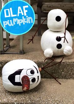 No Carve Frozen Olaf Pumpkin Decorating Idea for Halloween