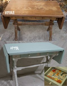 SOLD: Drop leaf table makeover. Colors I used are CeCe Caldwell's Paints Nantucket Spray and Vintage White. To see more photos go to https://www.facebook.com/YesterdaysFunkyJunk