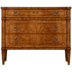 French Empire style walnut veneered chest of three drawers with fine geometric and floral inlays raised on tapering square legs with brass sabots. Features: - Windsor collection - Crotch walnut medium