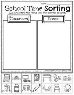 Sort the School Time Activities! - Back to School Preschool Worksheets Preschool Binder, Preschool Age, Preschool Worksheets, Preschool Activities, Back To School Worksheets, Back To School Activities, Hands On Activities, Time Activities, Pre K Lesson Plans