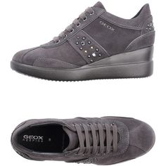 Geox Low-tops & Trainers ($85) ❤ liked on Polyvore featuring shoes, sneakers, lead, hidden wedge shoes, leather sneakers, hidden wedge sneakers, leather shoes and leather wedge sneakers