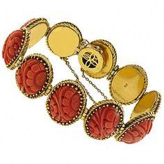 Estate  Carved Coral Gold Bracelet1940s Oval Cut Carved Coral 18k Yellow Gold Bracelet