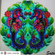Cavalos marinhos baphônicos by @sato_mandy #johannabasford #lostocean #desenhoscolorir #oceanoperdido #oceanocolorido #adultcoloring #coloringbook #seahorse #cavalomarinho